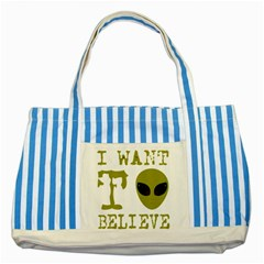 I Want To Believe Striped Blue Tote Bag