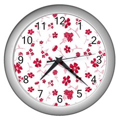 Sweet Shiny Floral Red Wall Clocks (silver)  by ImpressiveMoments