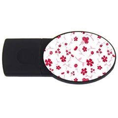 Sweet Shiny Floral Red Usb Flash Drive Oval (2 Gb) by ImpressiveMoments