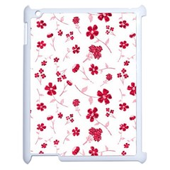Sweet Shiny Floral Red Apple Ipad 2 Case (white) by ImpressiveMoments