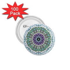Hearts In A Decorative Star Flower Mandala 1 75  Buttons (100 Pack)  by pepitasart