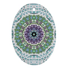 Hearts In A Decorative Star Flower Mandala Oval Ornament (two Sides) by pepitasart
