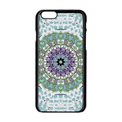 Hearts In A Decorative Star Flower Mandala Apple Iphone 6/6s Black Enamel Case by pepitasart