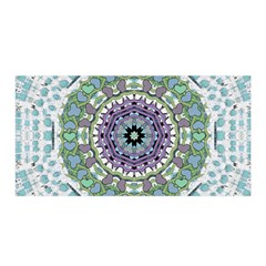 Hearts In A Decorative Star Flower Mandala Satin Wrap by pepitasart