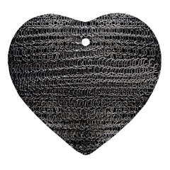 Silver Chain Maille Print Heart Ornament (two Sides) by bloomingvinedesign