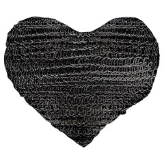 Silver Chain Maille Print Large 19  Premium Heart Shape Cushions by bloomingvinedesign