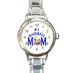 #1 BASEBALL MOM MOTHER ROUND ITALIAN CHARM WATCH
