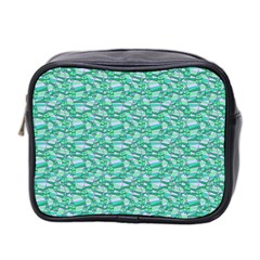 Green Leaves Pattern Mini Toiletries Bag 2 Side by nomadsoul