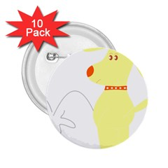 Mutt Dog Animal Domestic Vector 2 25  Buttons (10 Pack)