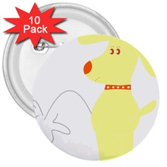 Mutt Dog Animal Domestic Vector 3  Buttons (10 Pack)