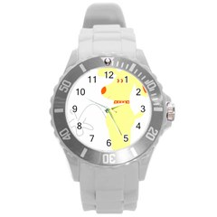 Mutt Dog Animal Domestic Vector Round Plastic Sport Watch (l)
