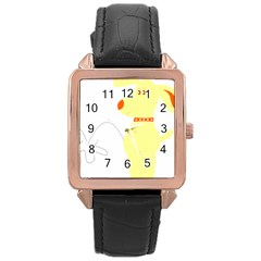 Mutt Dog Animal Domestic Vector Rose Gold Leather Watch