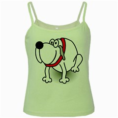 Dog Animal Pet Grin Sit Happy Green Spaghetti Tank