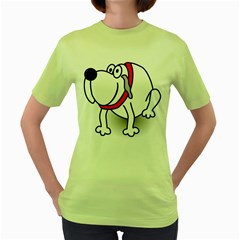 Dog Animal Pet Grin Sit Happy Women s Green T Shirt
