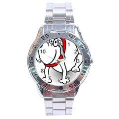Dog Animal Pet Grin Sit Happy Stainless Steel Analogue Watch