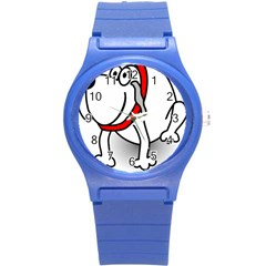 Dog Animal Pet Grin Sit Happy Round Plastic Sport Watch (s)