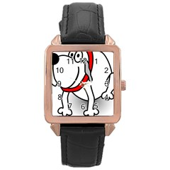 Dog Animal Pet Grin Sit Happy Rose Gold Leather Watch