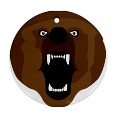 Bear Brown Set Paw Isolated Icon Ornament (round)