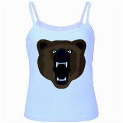 Bear Brown Set Paw Isolated Icon Baby Blue Spaghetti Tank