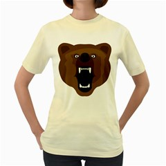 Bear Brown Set Paw Isolated Icon Women s Yellow T Shirt