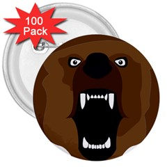 Bear Brown Set Paw Isolated Icon 3  Buttons (100 Pack)