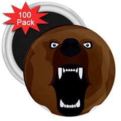 Bear Brown Set Paw Isolated Icon 3  Magnets (100 Pack)