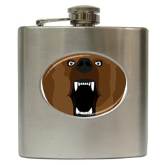 Bear Brown Set Paw Isolated Icon Hip Flask (6 Oz)