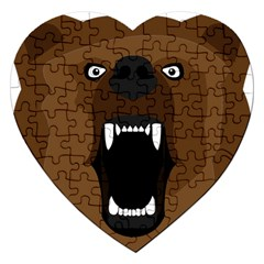 Bear Brown Set Paw Isolated Icon Jigsaw Puzzle (heart) by Nexatart