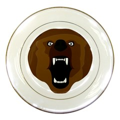 Bear Brown Set Paw Isolated Icon Porcelain Plates