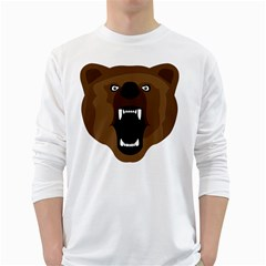 Bear Brown Set Paw Isolated Icon White Long Sleeve T Shirts