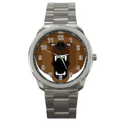 Bear Brown Set Paw Isolated Icon Sport Metal Watch