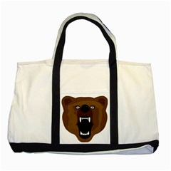 Bear Brown Set Paw Isolated Icon Two Tone Tote Bag