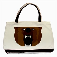 Bear Brown Set Paw Isolated Icon Basic Tote Bag (two Sides)