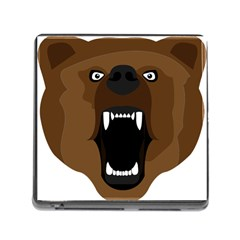 Bear Brown Set Paw Isolated Icon Memory Card Reader (square)