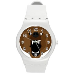 Bear Brown Set Paw Isolated Icon Round Plastic Sport Watch (m)