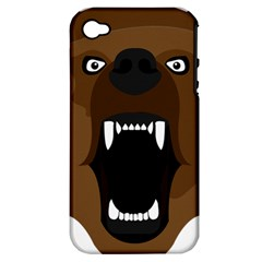 Bear Brown Set Paw Isolated Icon Apple Iphone 4/4s Hardshell Case (pc+silicone)
