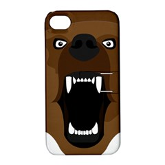 Bear Brown Set Paw Isolated Icon Apple Iphone 4/4s Hardshell Case With Stand