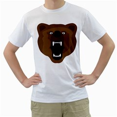 Bear Brown Set Paw Isolated Icon Men s T Shirt (white)