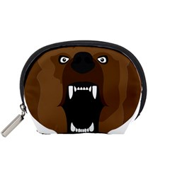 Bear Brown Set Paw Isolated Icon Accessory Pouches (small)