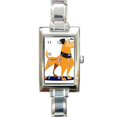 Stub Illustration Cute Animal Dog Rectangle Italian Charm Watch