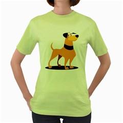 Stub Illustration Cute Animal Dog Women s Green T Shirt