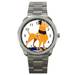 Stub Illustration Cute Animal Dog Sport Metal Watch