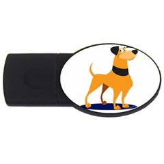 Stub Illustration Cute Animal Dog Usb Flash Drive Oval (4 Gb)