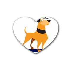 Stub Illustration Cute Animal Dog Heart Coaster (4 Pack)