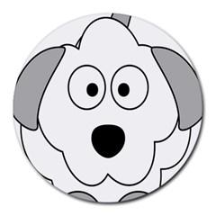 Animal Cartoon Colour Dog Round Mousepads by Nexatart