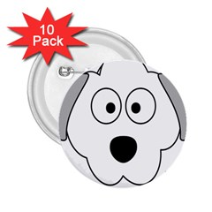 Animal Cartoon Colour Dog 2 25  Buttons (10 Pack)