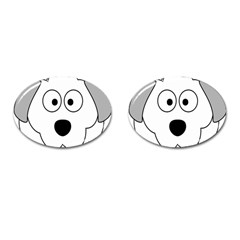 Animal Cartoon Colour Dog Cufflinks (oval)
