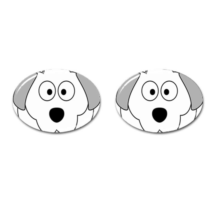 Animal Cartoon Colour Dog Cufflinks (Oval)