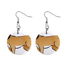 Dog Brown Pet Animal Tail Eskimo Mini Button Earrings