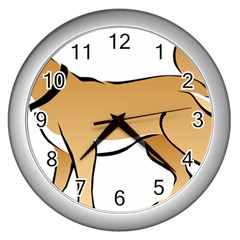 Dog Brown Pet Animal Tail Eskimo Wall Clocks (silver)